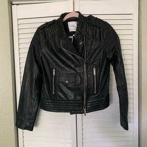 NWT mango leather crop jacket
